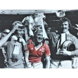 Football Jimmy Greenhoff signed 16x12 colourised photo pictured celebrating with the FA Cup after