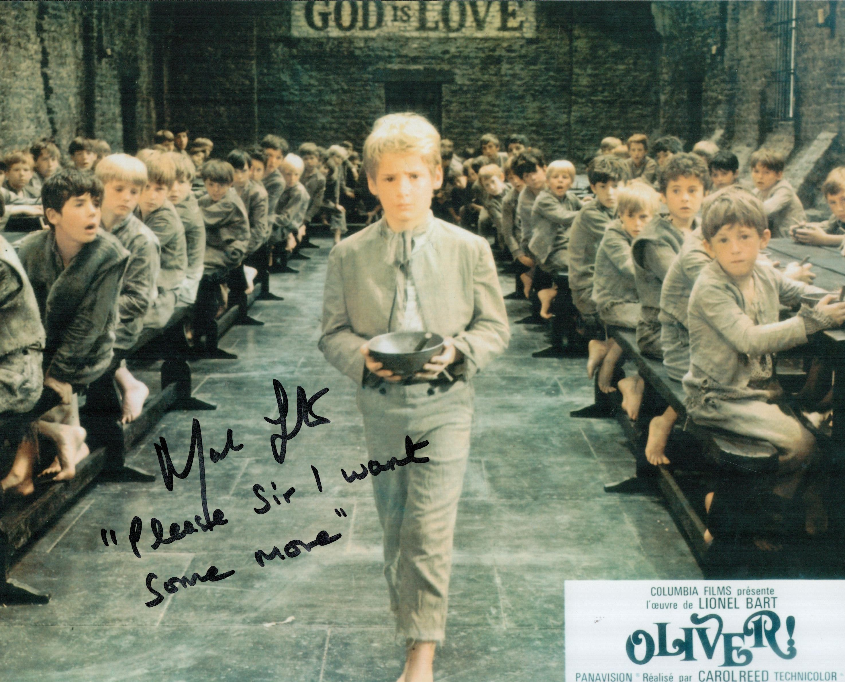 Oliver Mark Lester signed 10 x 8 inch colour phot with rare inscription Please Sir I want Some More.