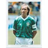 Football Sammy McIlroy signed 16x12 colour photo pictured while captain of Northern Ireland at the