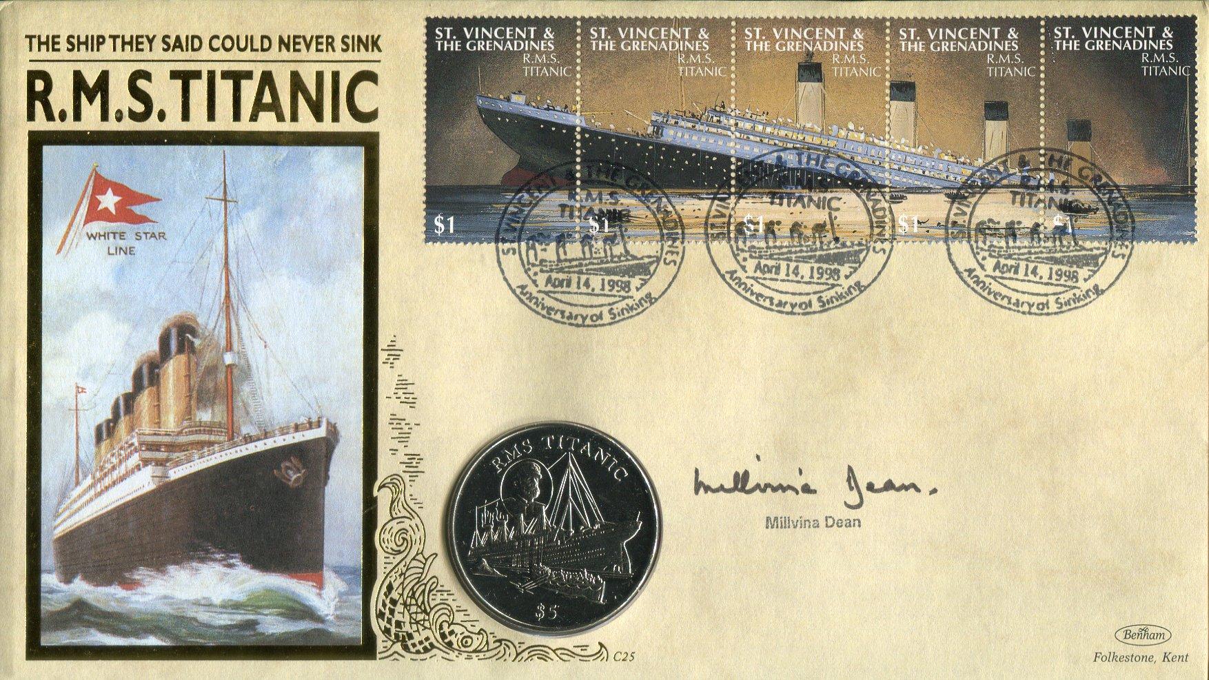 RMS Titanic survivor Millvina Dean signed Limited Edition of 2000 Benham Titanic coin FDC. Good