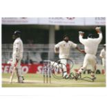 Cricket. Monty Panesar signed 10x8 colour photo. Photo shows Panesar celebrating after taking a