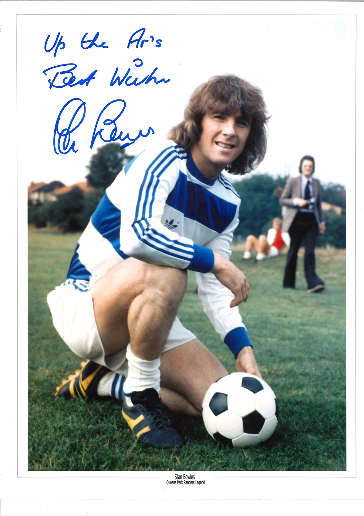 Stan Bowles QPR Signed 16 x 12 inch football photo. Good condition. All autographs come with a