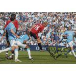 Autographed Paul Scholes 12 X 8 Photo Col, Depicting Scholes Heading A Last Minute Winning Goal