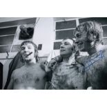 Autographed Jimmy Greenhoff 12 X 8 Photo B W, Depicting Greenhoff And His Stoke City Team Mates
