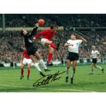 Football, Sir Geoff Hurst signed 16x12 colour photograph pictured during his famed hat trick game