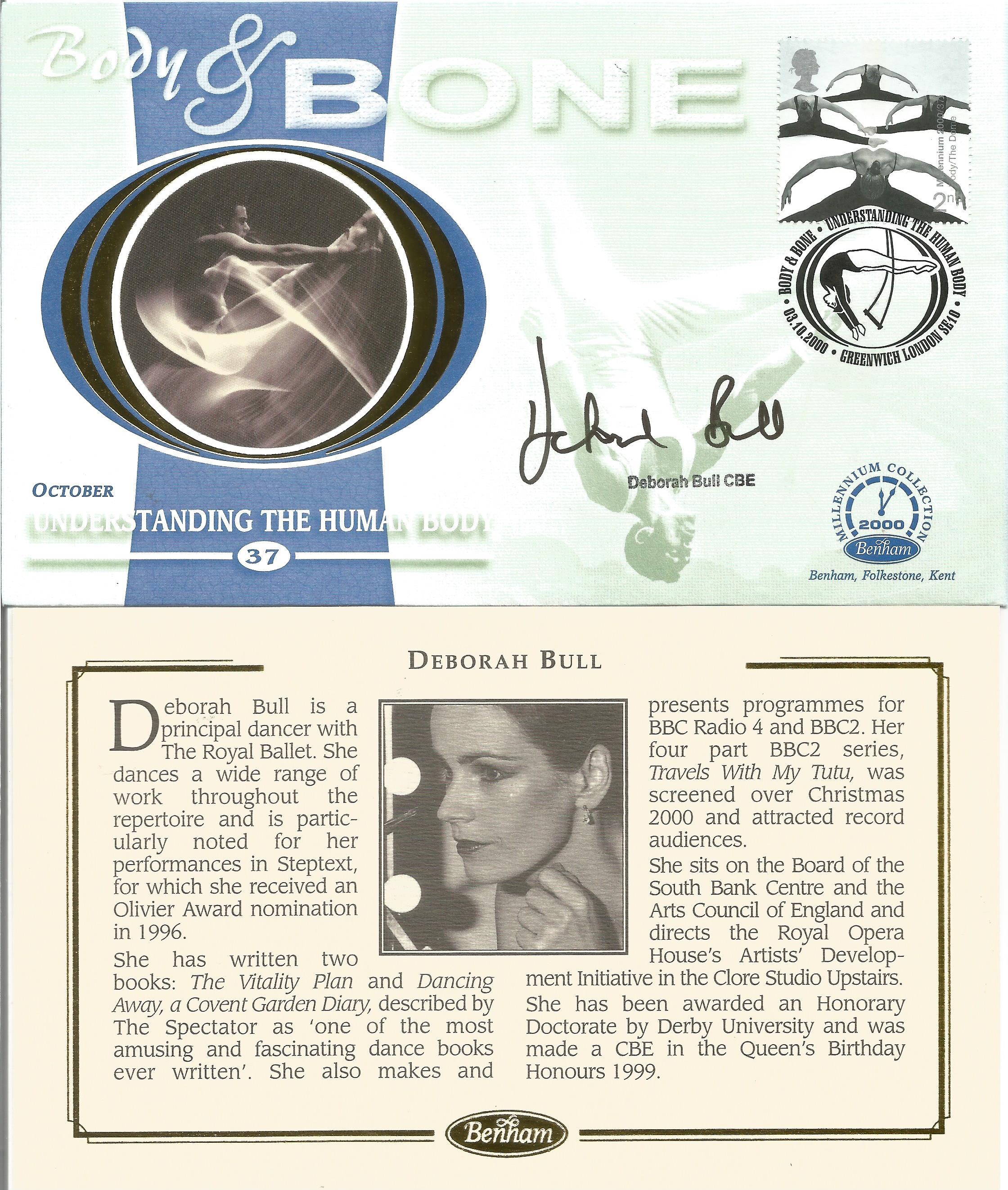 Deborah Bull CBE signed Body & Bone FDC. 3 10 2000 Greenwich postmark. Good condition. All