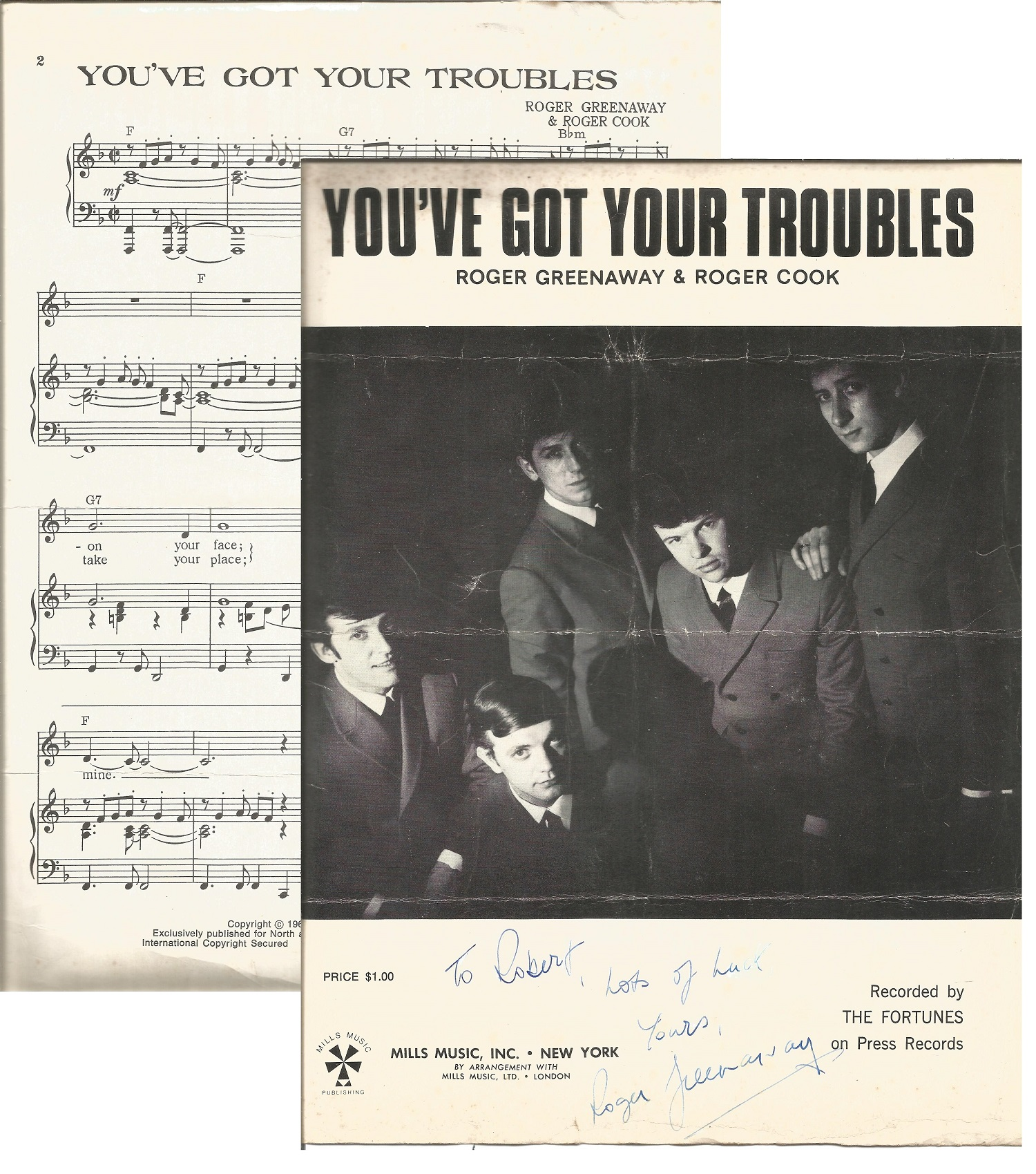 Roger Greenaway signed You've Got Your Troubles 12 x 9 song sheet. Features black & white photo of