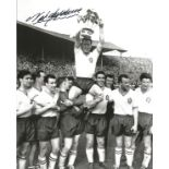 Nat Lofthouse signed 10x8 Black and white photo. Photo shows Lofthouse being held aloft by team