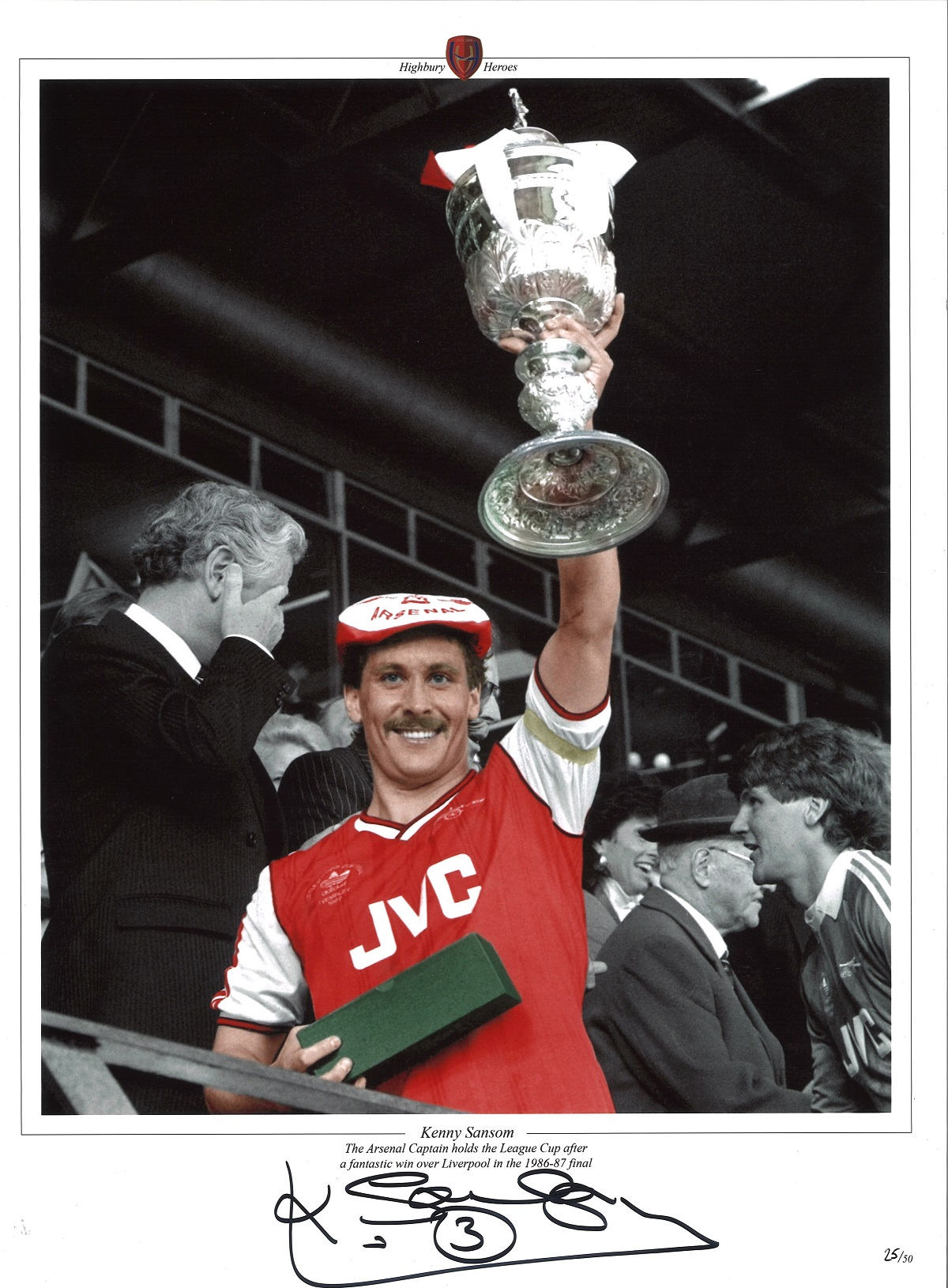 Football, Kenny Sansom 16x12 colourised promo photograph pictured celebrating with the League Cup