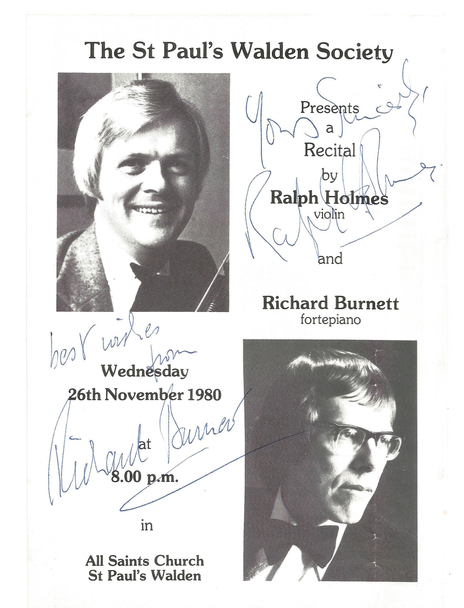 Ralph Holmes Richard Burnett signed black & white programme for The St Paul's Walden Society Recital
