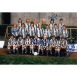 Autographed Newcastle United 12 X 8 Photo Col, Depicting Players Posing For Photographers During A