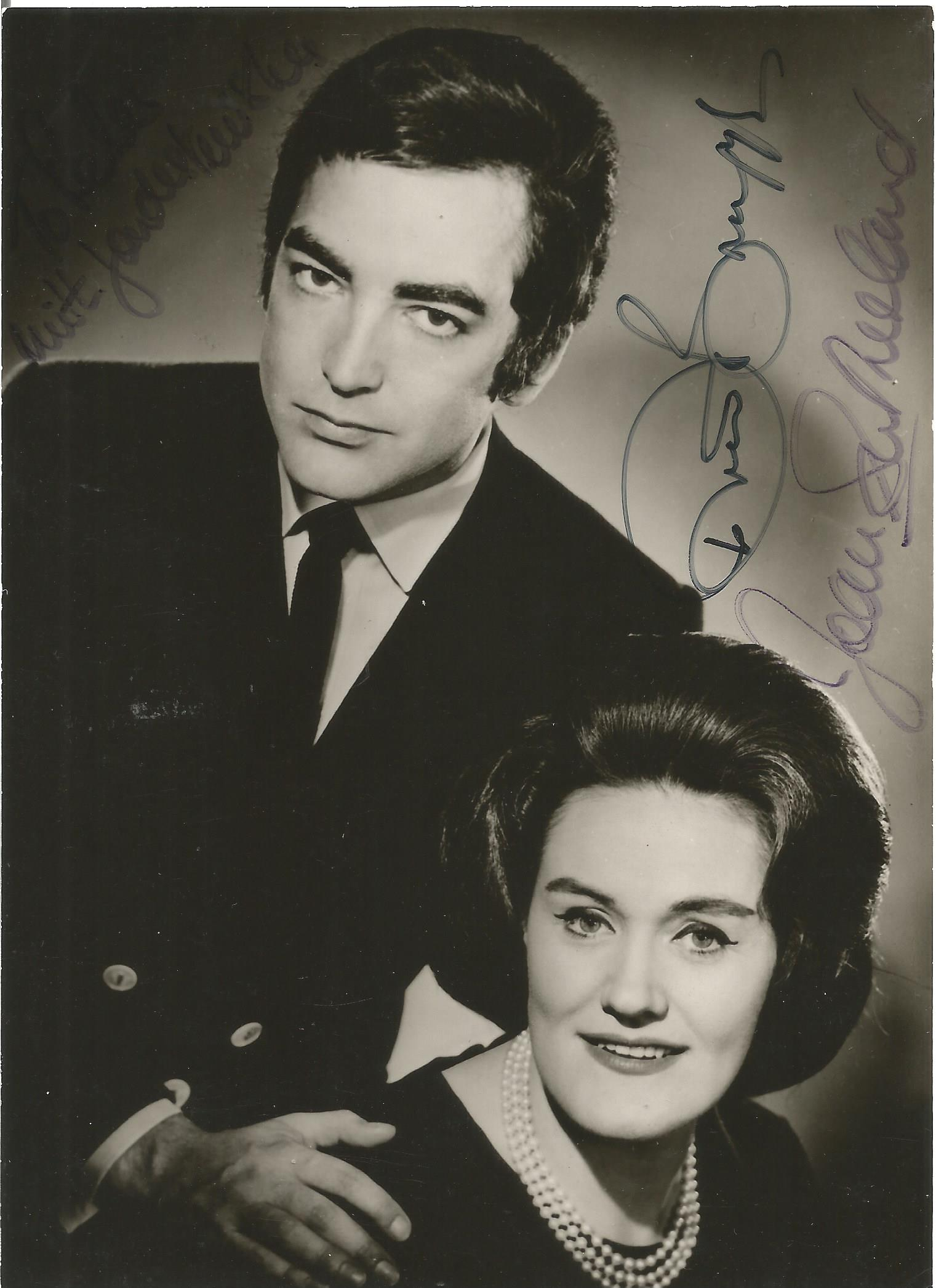 Richard Boynge and Joan Sutherland signed 6 x 4 inch b w photo dedicated to peter. Good condition.