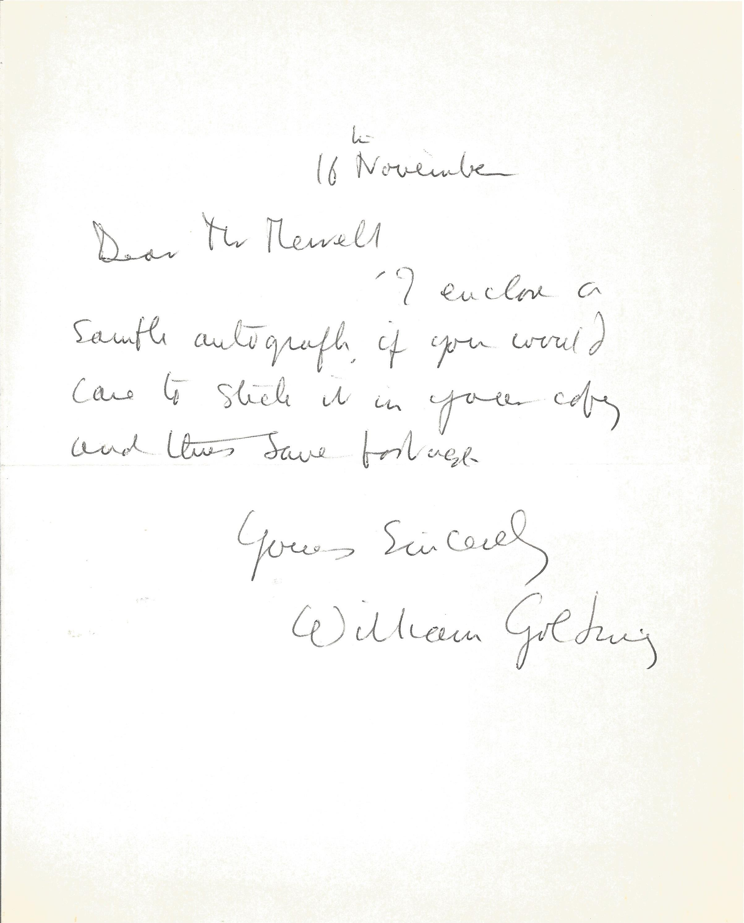 William Golding ALS. Novelist. Good condition. All autographs come with a Certificate of