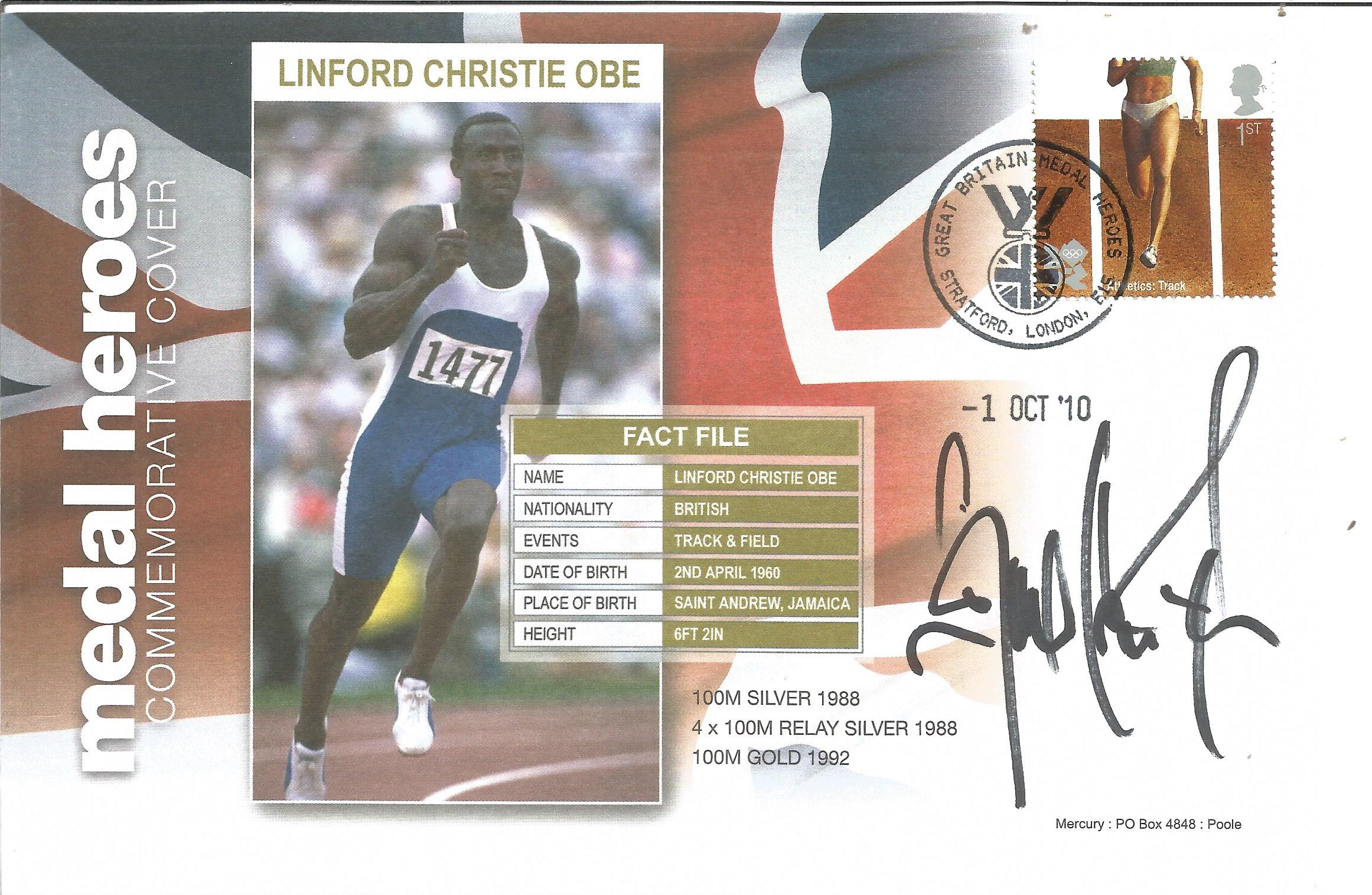 Olympic Medal winner Linford Christie FDC for medal heroes in Honor of Linford Christie and his