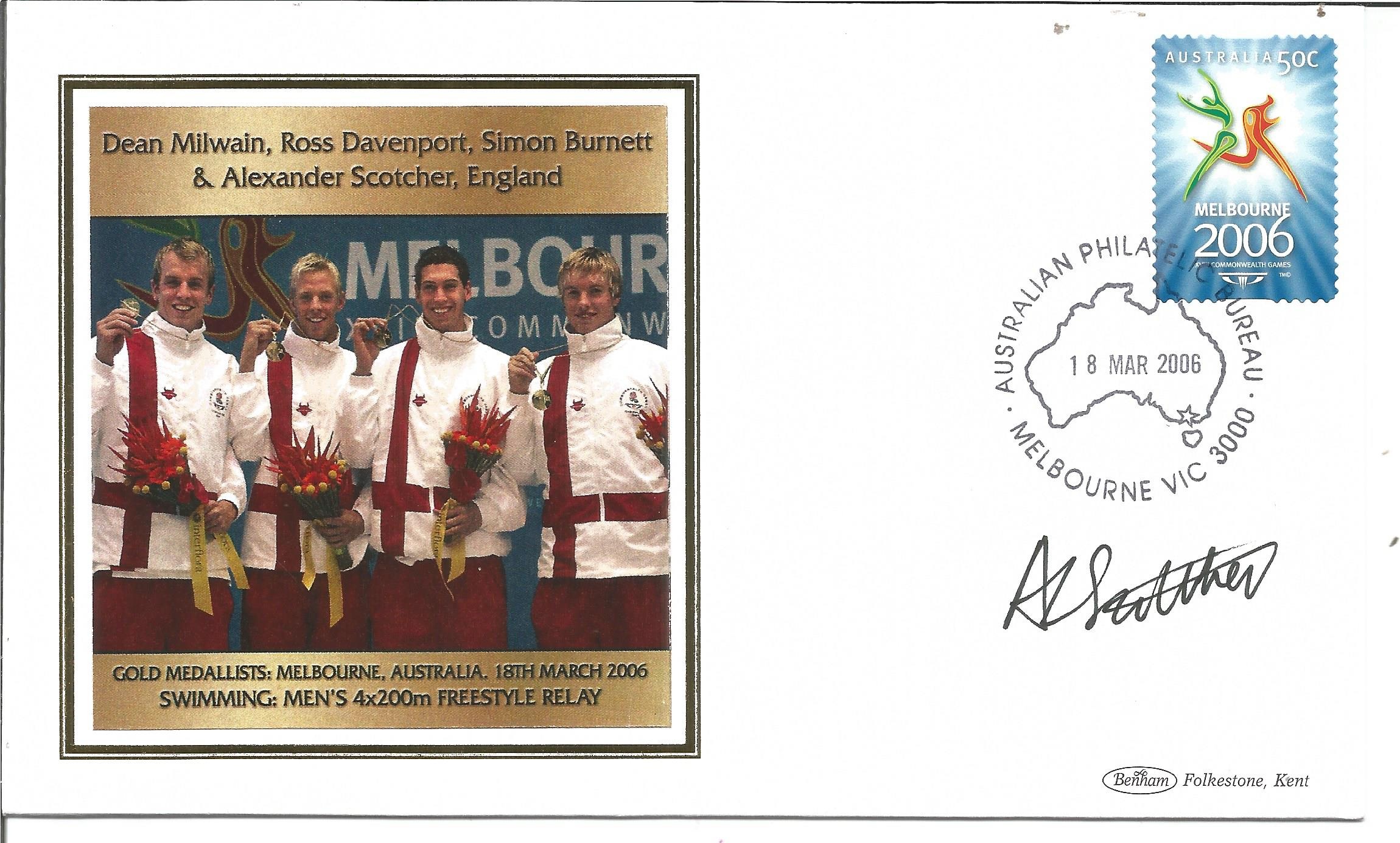 Olympic medal winner Alexander Scotcher signed Benham Melbourne Olympics silk FDC to commemorate the