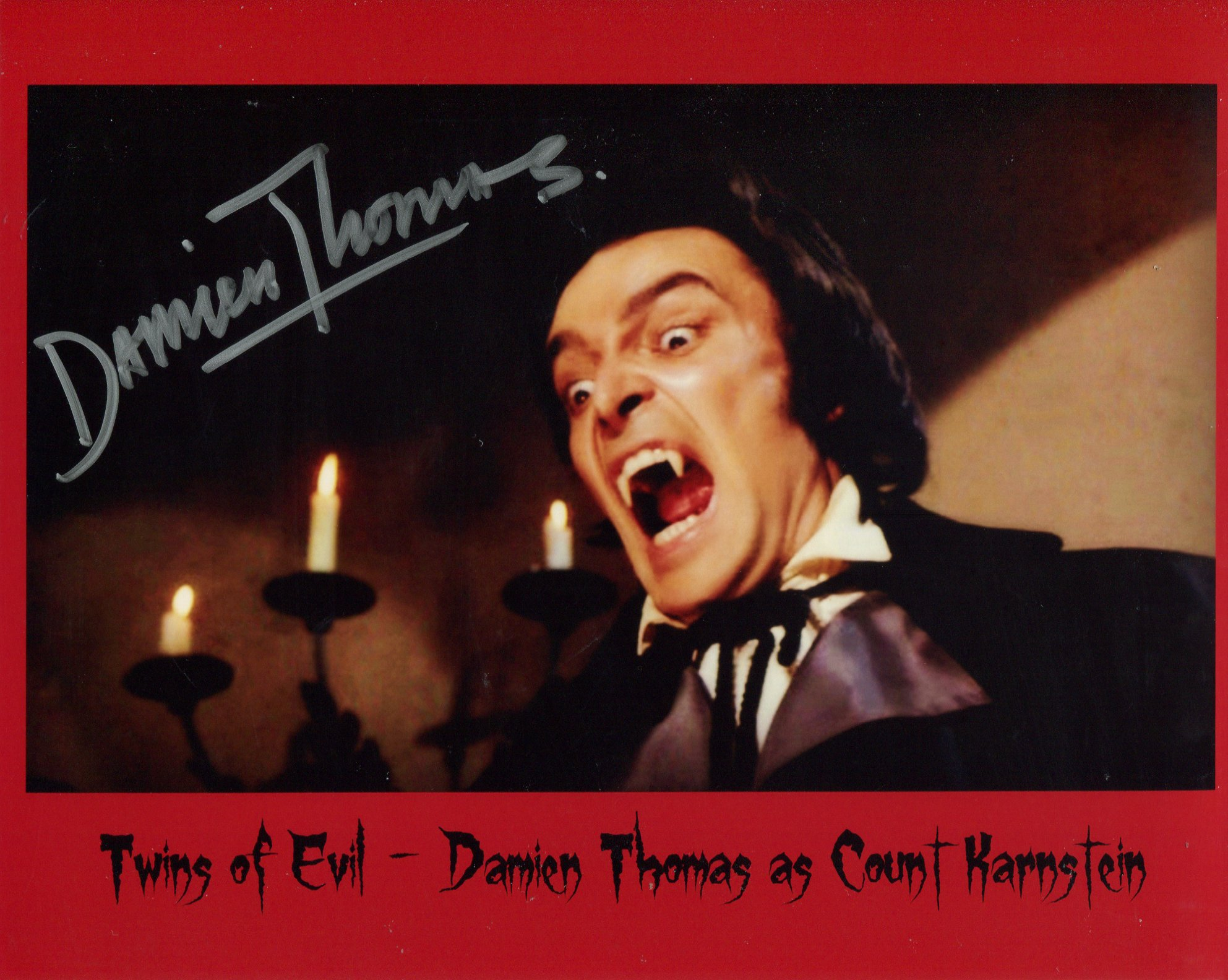 Twins of Evil horror movie 8x10 photo signed by actor Damien Thomas. Good condition. All