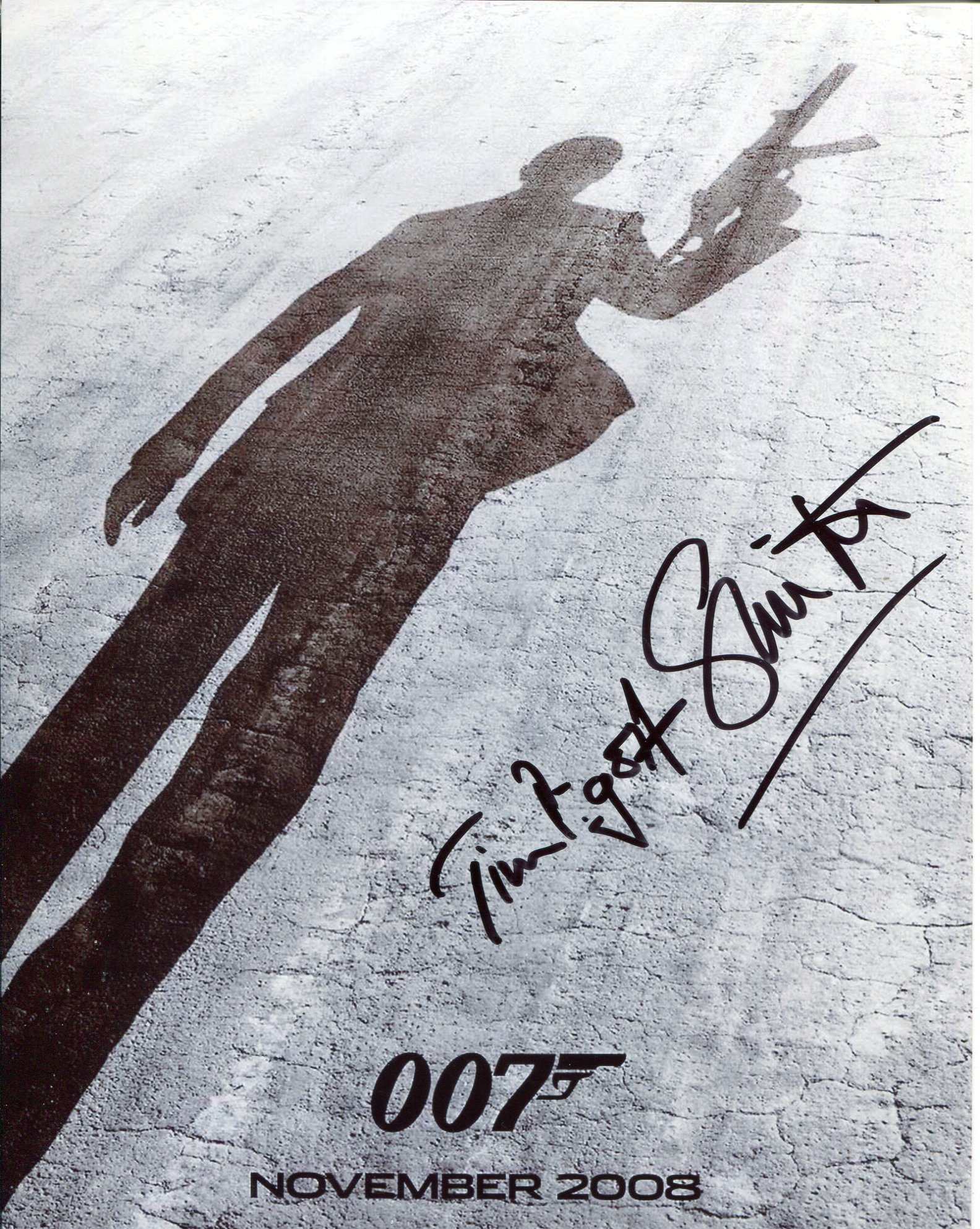 007 James Bond movie Quantum of Solace 8x10 photo signed by actor Tim Pigott Smith who played the