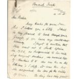 Henry Scott, English cricketer ALS x 2 dated 10th and 16th October 1935. Has very old paperclip
