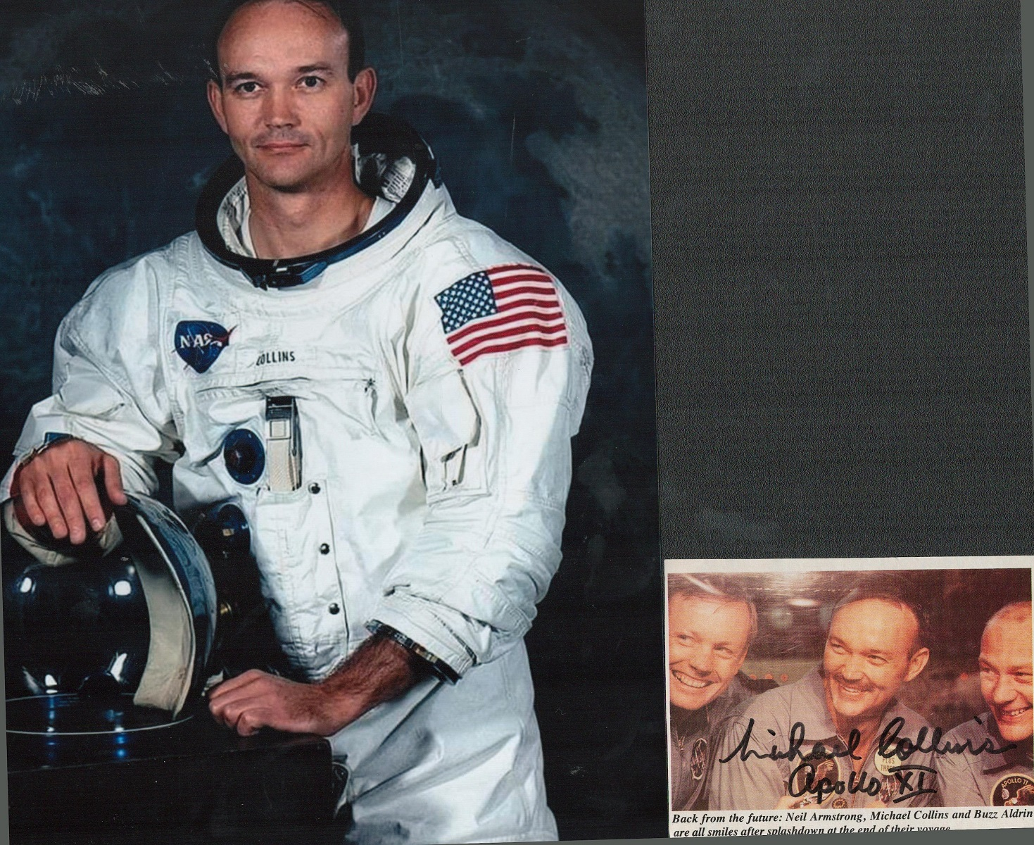 Michael Collins signed small colour magazine photo, along with 10x8 colour unsigned spacesuit photo.