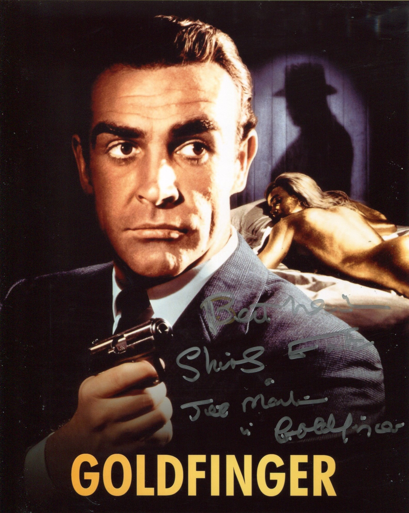 007 Bond girl Shirley Eaton signed 8x10 Goldfinger montage photo. Good condition. All autographs