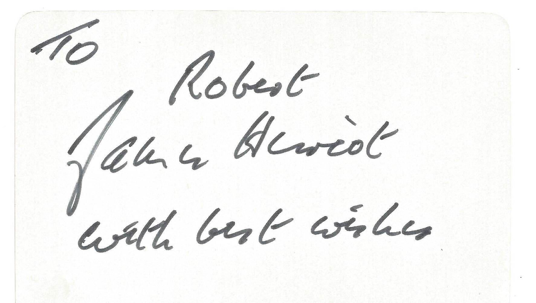 James Herriot signed white card 3 1 2 x 5 1 2 dedicated. Good condition. All autographs come with