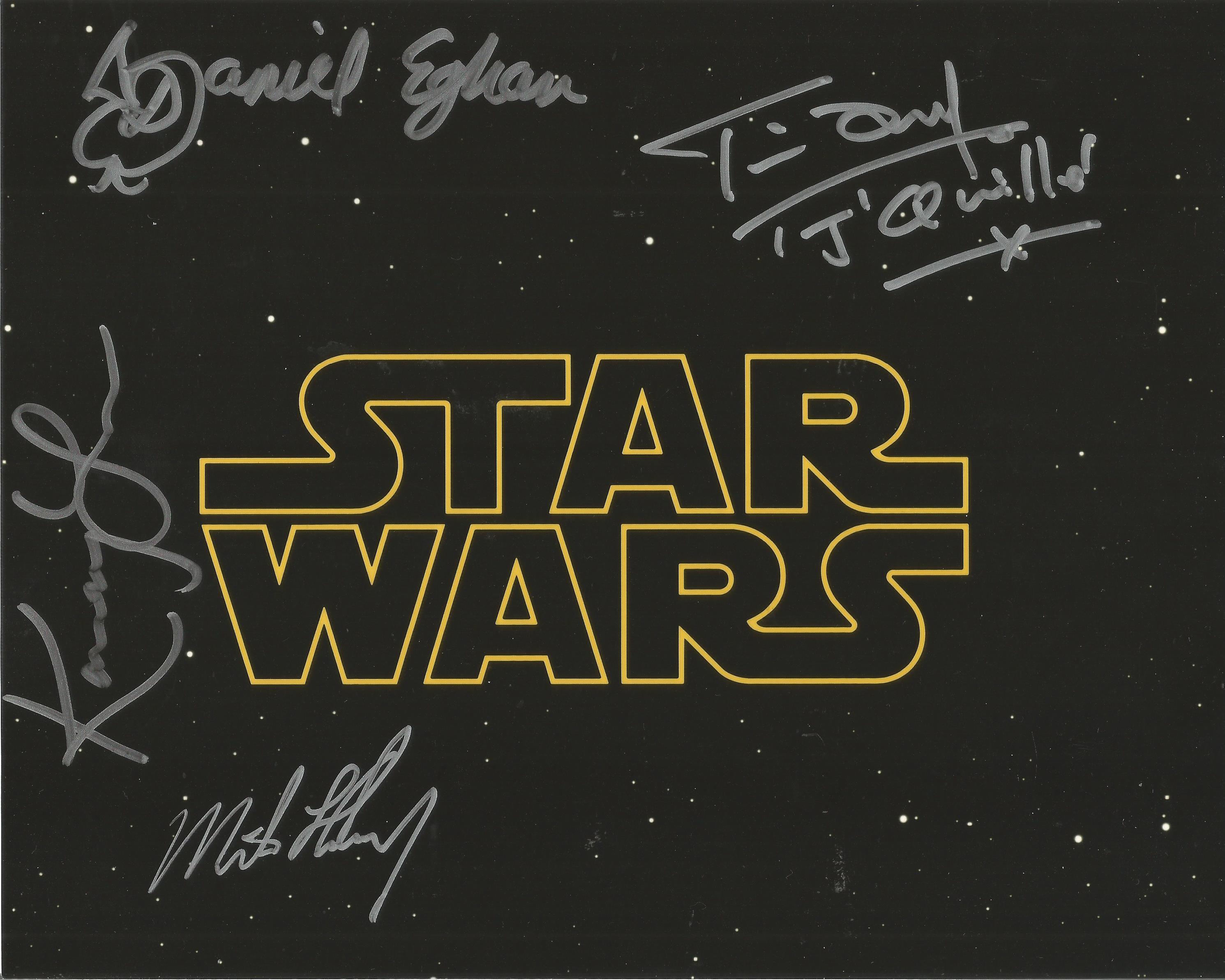 Star Wars multi signed 10x8 colour photo 4 cast members signatures includes Kamay Lau, Daniel