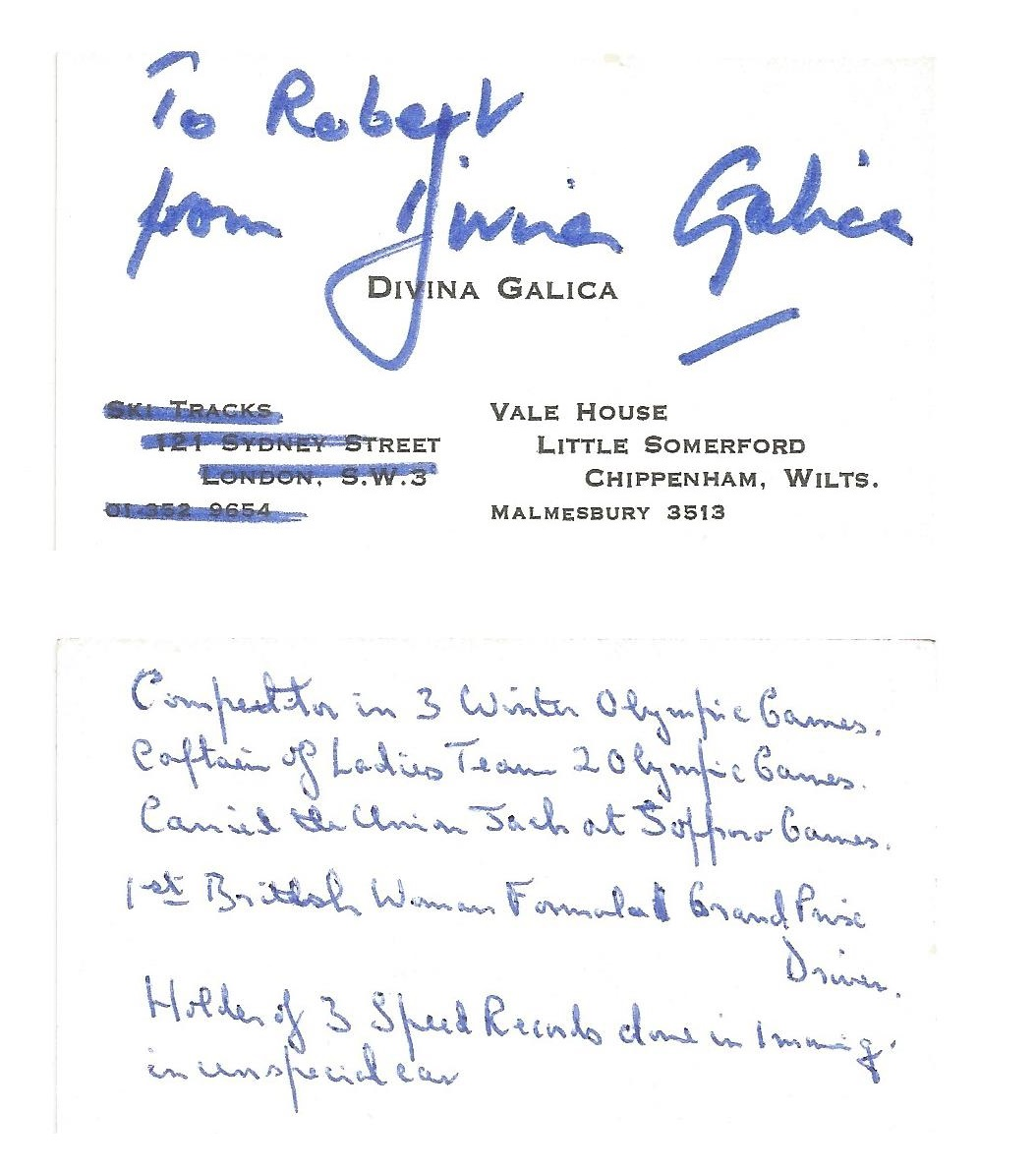 Divina Galica MBE signed card approx 2 x 3 dedicated. British sportswoman who competed in four