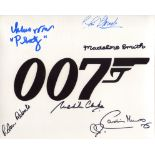 007 James Bond multi signed 8x10 photo signed by SIX actors who starred in a Bond movie in