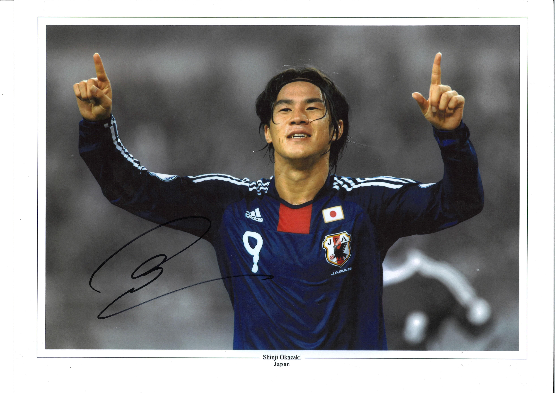 Shinji Okazaki Collage Japan Signed 16 x 12 inch football photo. Good condition. All autographs come