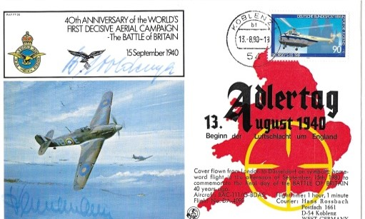 WW2 Luftwaffe aces signed Adler Tag Cover Oberstleutnant Helmut Bennemann KC, Oberstleutnant Bernard