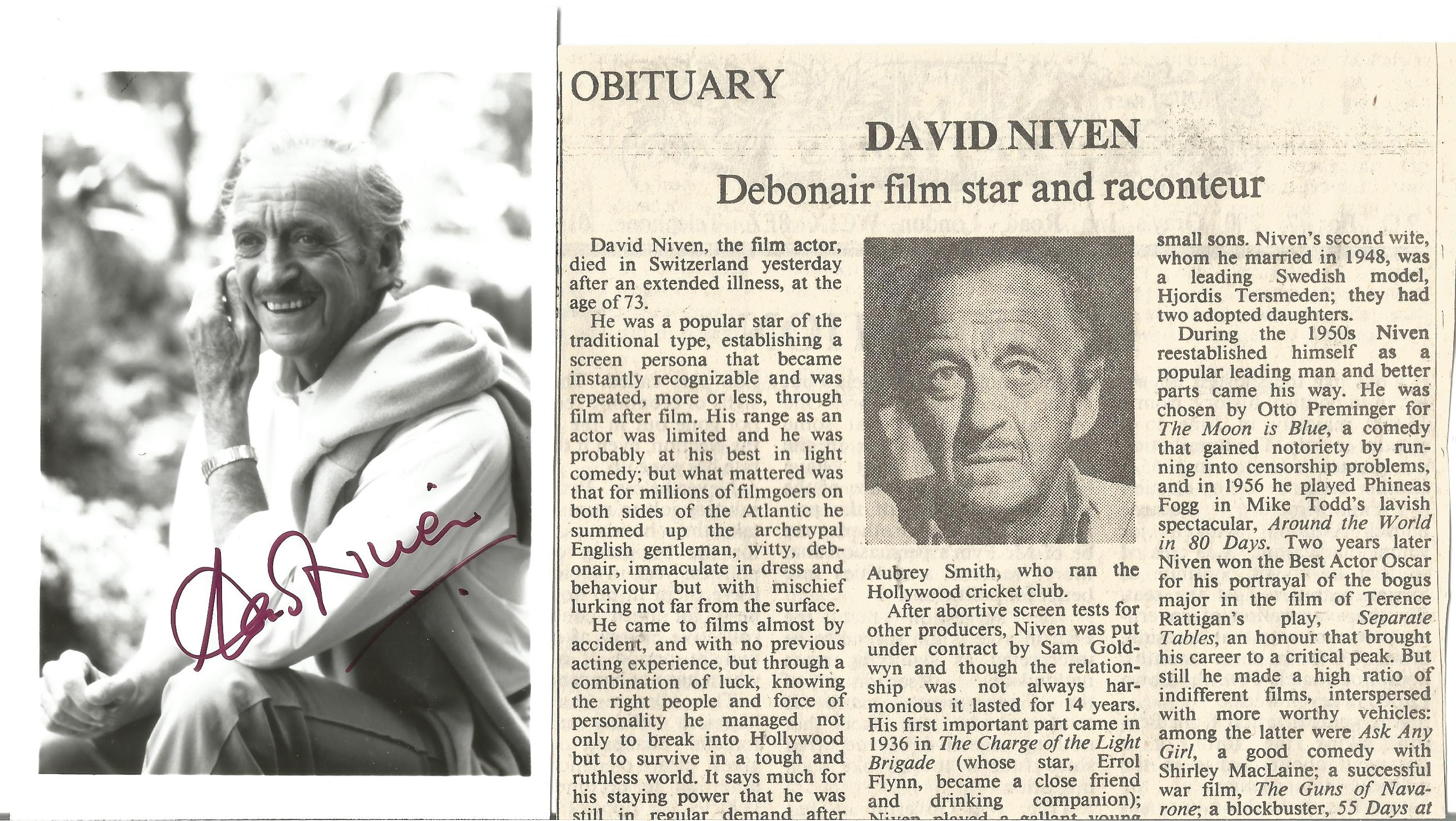 David Niven signed 5x3 black and white photo. James David Graham Niven (1 March 1910 - 29 July 1983)