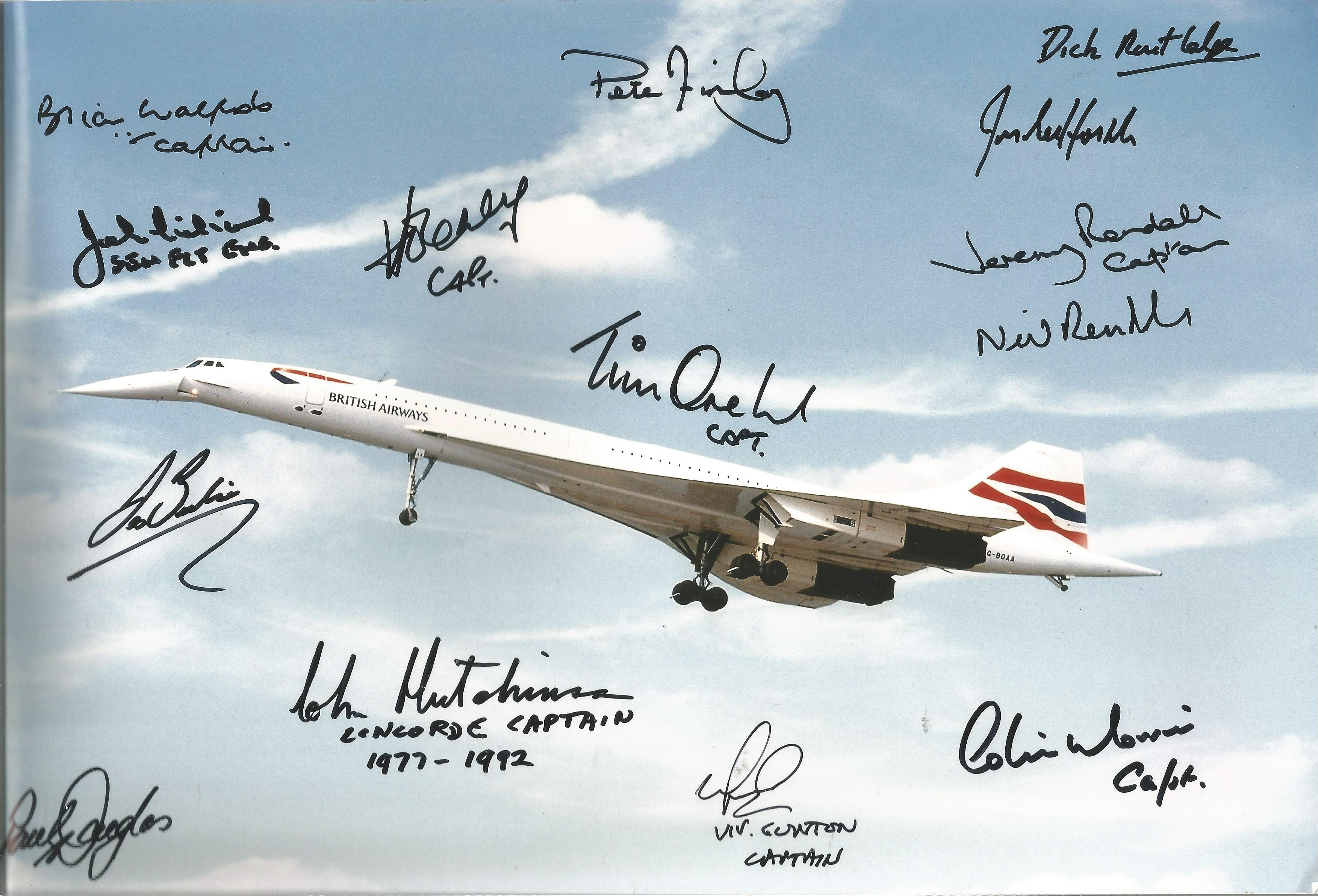 Concorde multi signed 12x8 colour photo signatures includes 13 flight crew signatures such as Cpt