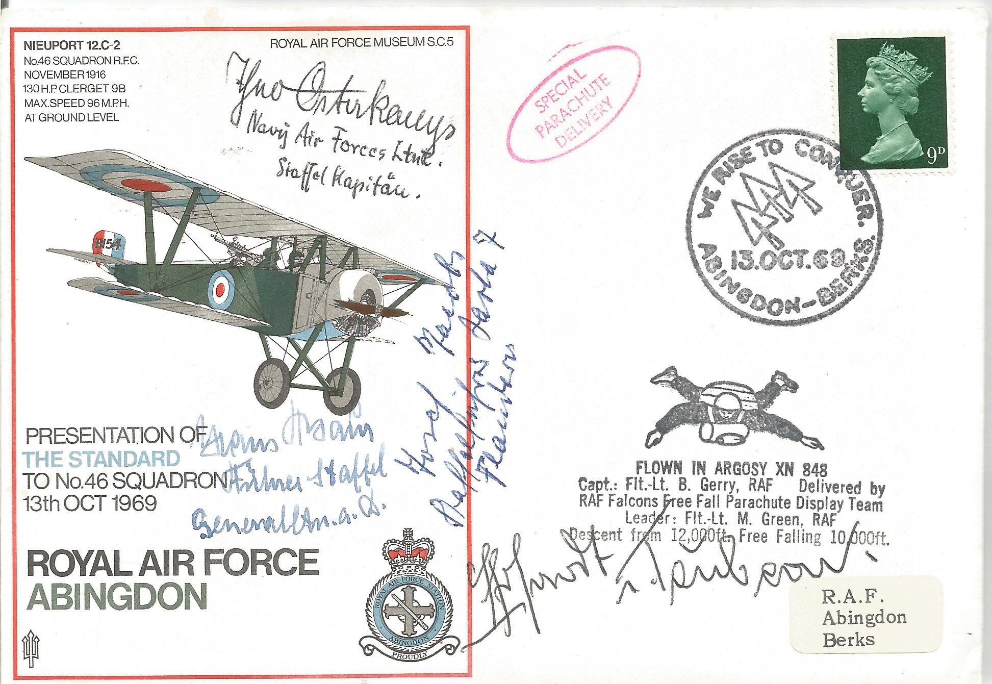 Hans Rossbach No 22Royal Air Force Abingdon multi signed flown FDC signatures included are