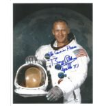 Buzz Aldrin signed 10x8 colour photo inscribed We Come in Peace Buzz Aldrin Apollo XI. Buzz Aldrin (