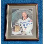 Buzz Aldrin signed 14x11 mounted and framed colour photo. Buzz Aldrin ( born Edwin Eugene Aldrin Jr.