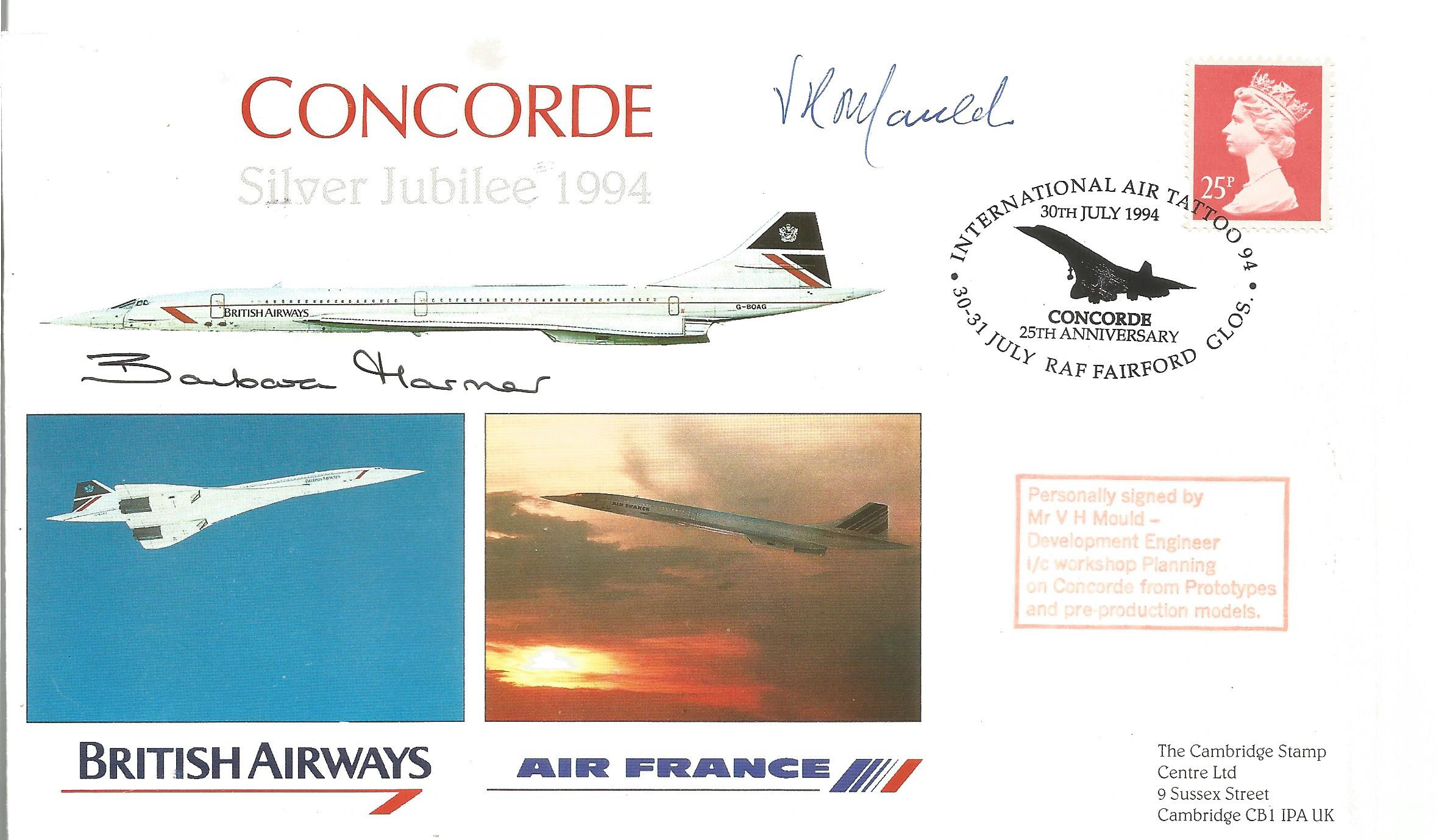 Concorde Barbara Harmer and Mr V H Mould signed Concorde Silver Jubilee 1994 FDC PM International