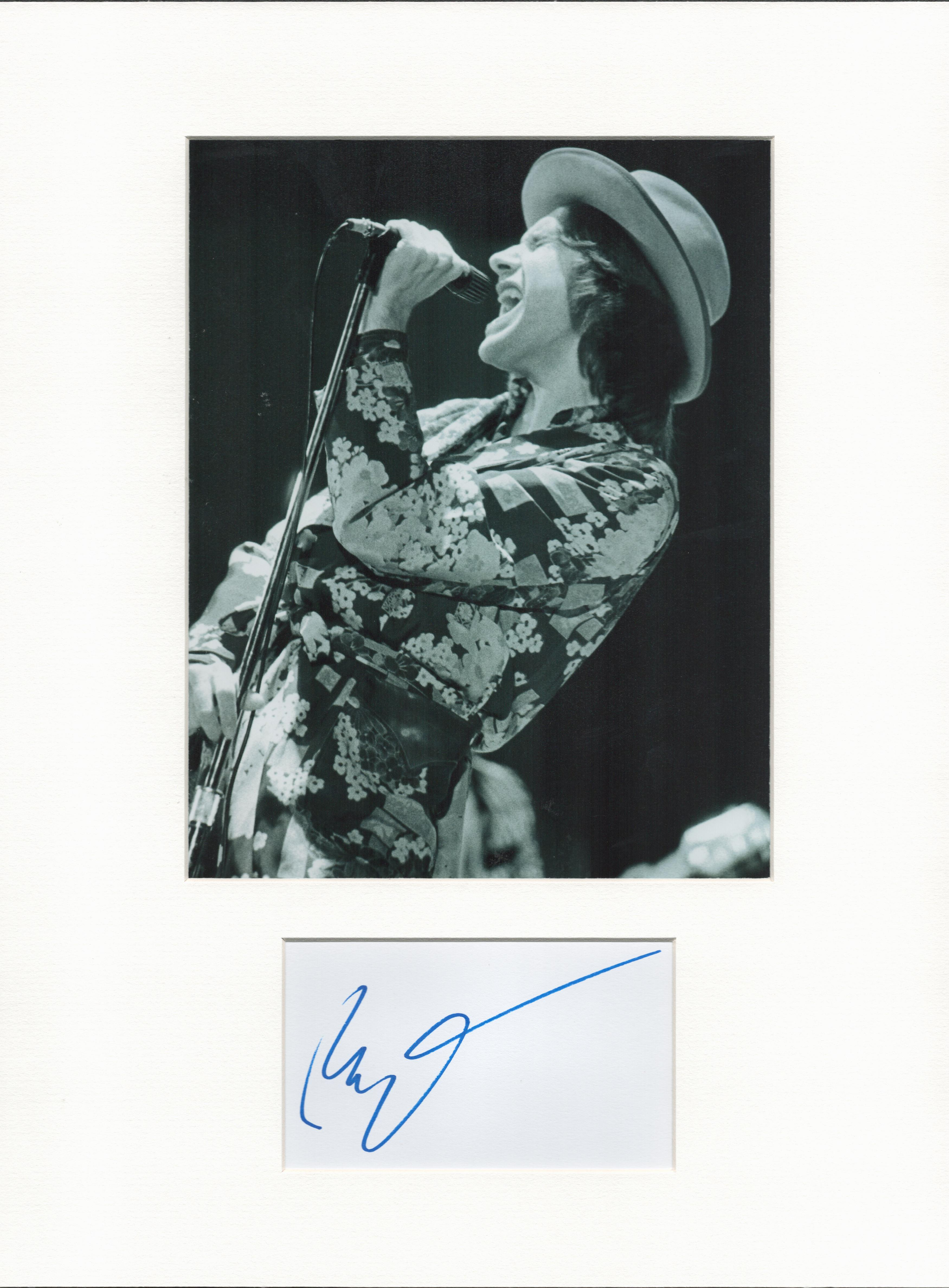 Ray Davies (The Kinks) autograph mounted display. Mounted with photograph to approx. 16 x 12