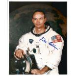 Apollo 11 Astronaut Michael Collins signed rare 10 x 8 inch colour White space suit photo . Good