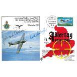 WW2 Luftwaffe aces signed Adler Tag Cover Oberleutnant Gerhard Krems KC, Major Erich Rudorffer KC.