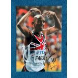 Mo Farah signed 16x12 colour photo pictured celebrating after winning world championship gold in