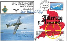 WW2 Luftwaffe aces signed Adler Tag Cover Major Hans Ekkehard Bob. Hauptmann Josef Haibock KC. Major