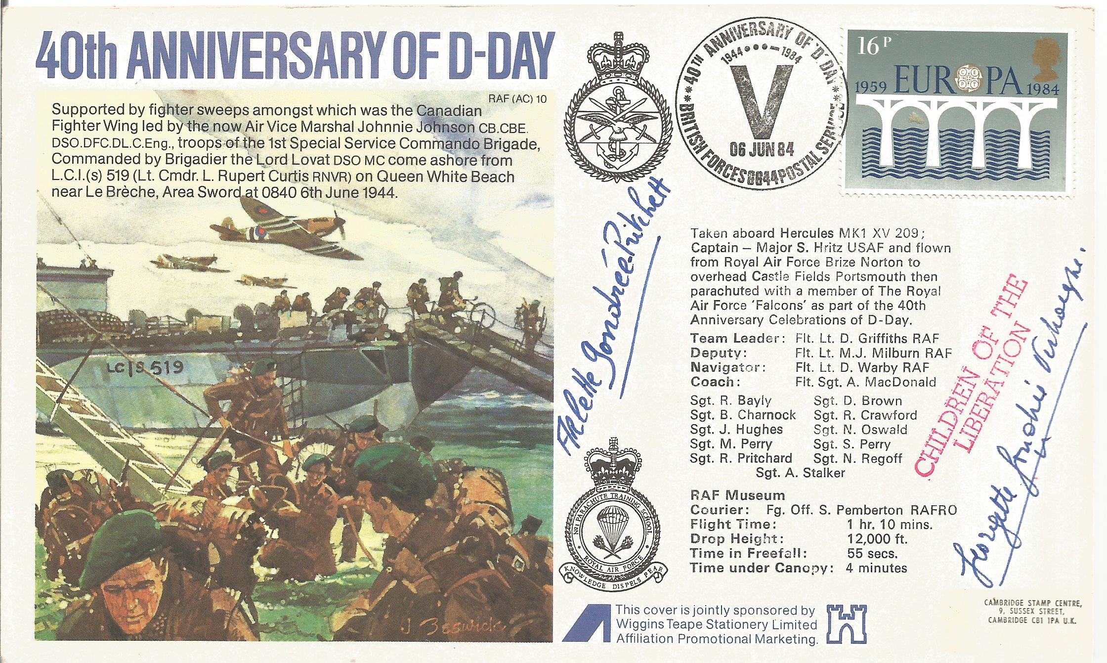 D Day World War II Arlette and Georgette Gondree signed 40th Anniversary of D Day FDC PM British