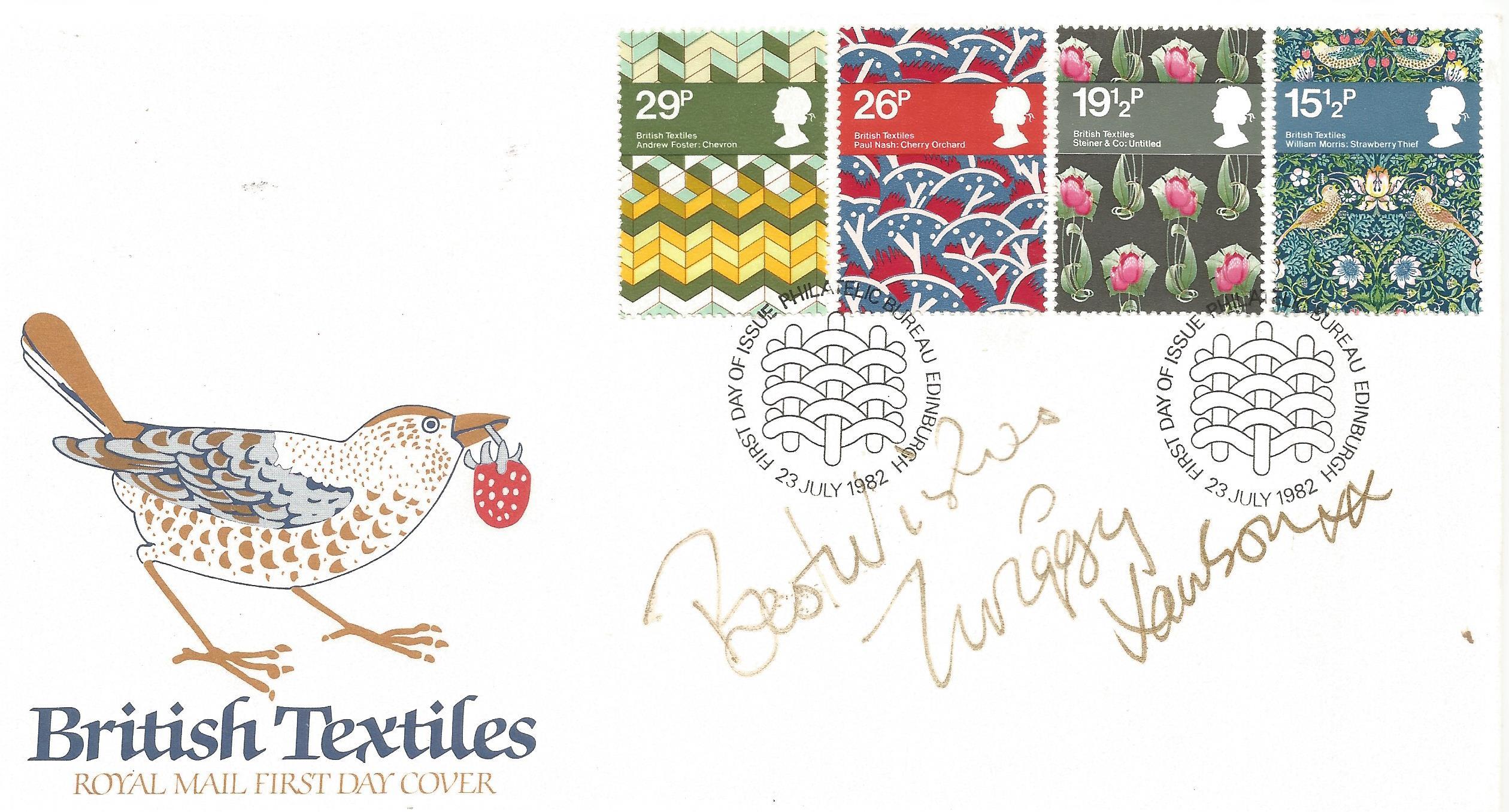 Dame Twiggy Lawson signed British Textiles Royal Mail FDC PM Philatelic Bureau Edinburgh 23 July