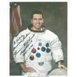 Apollo 17 Moonwalker Harrison Schmitt signed 10 x 8 inch colour White Space Suit photo to Kelly.