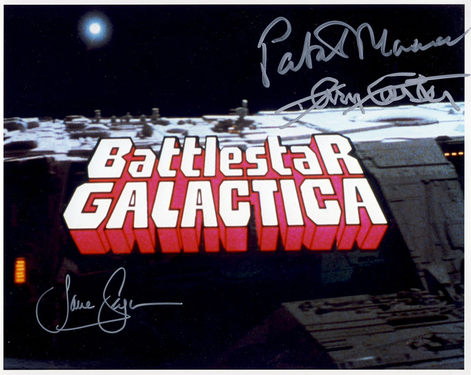 EXTREMELY RARE! Battlestar Galactica 1978 triple signed photo. This beautiful hand signed 10x8 photo