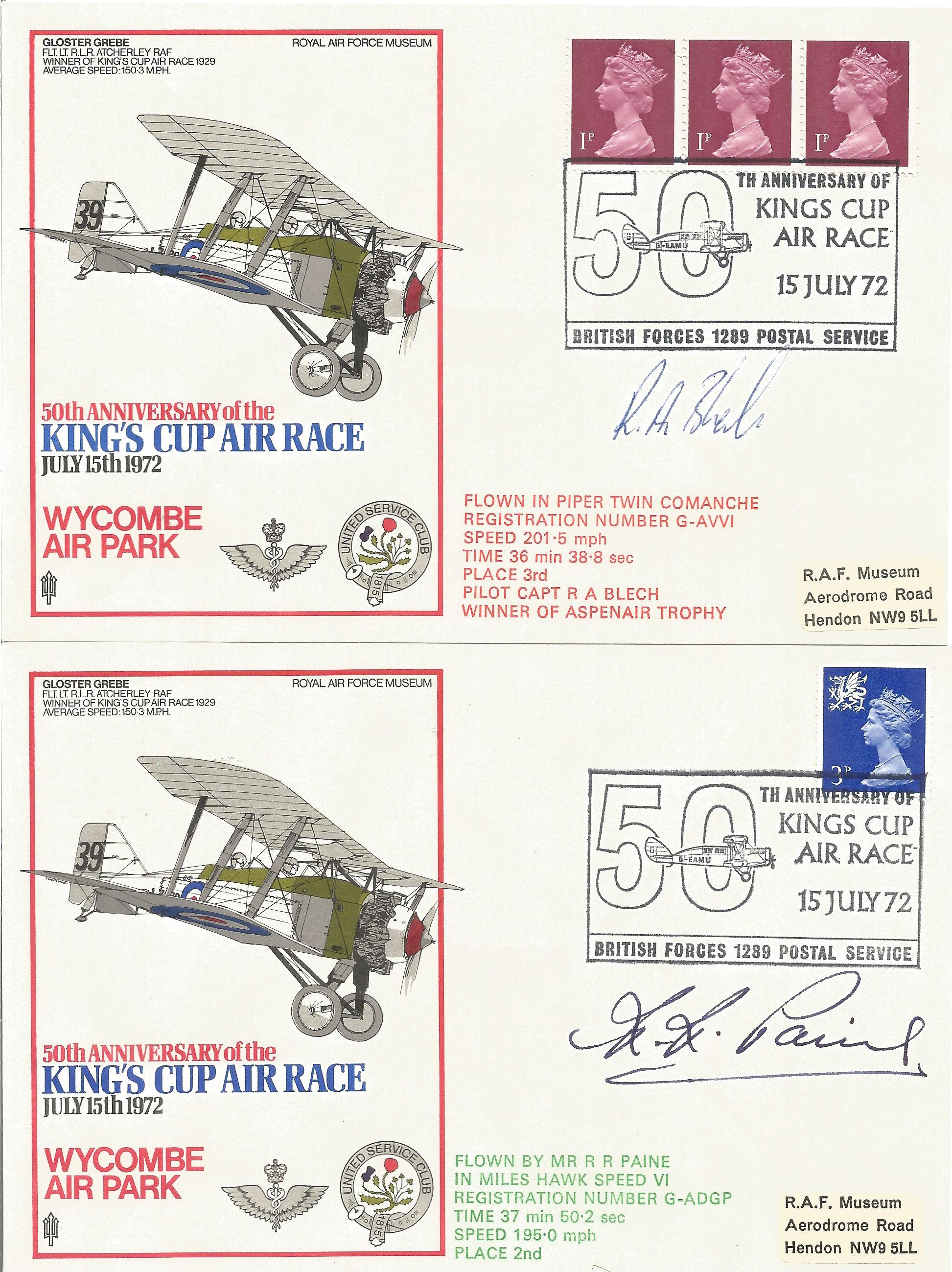 RAF Kings Cup Air Race Series VIP signed collection. The full set of 43 1972 Kings Cup Air Race