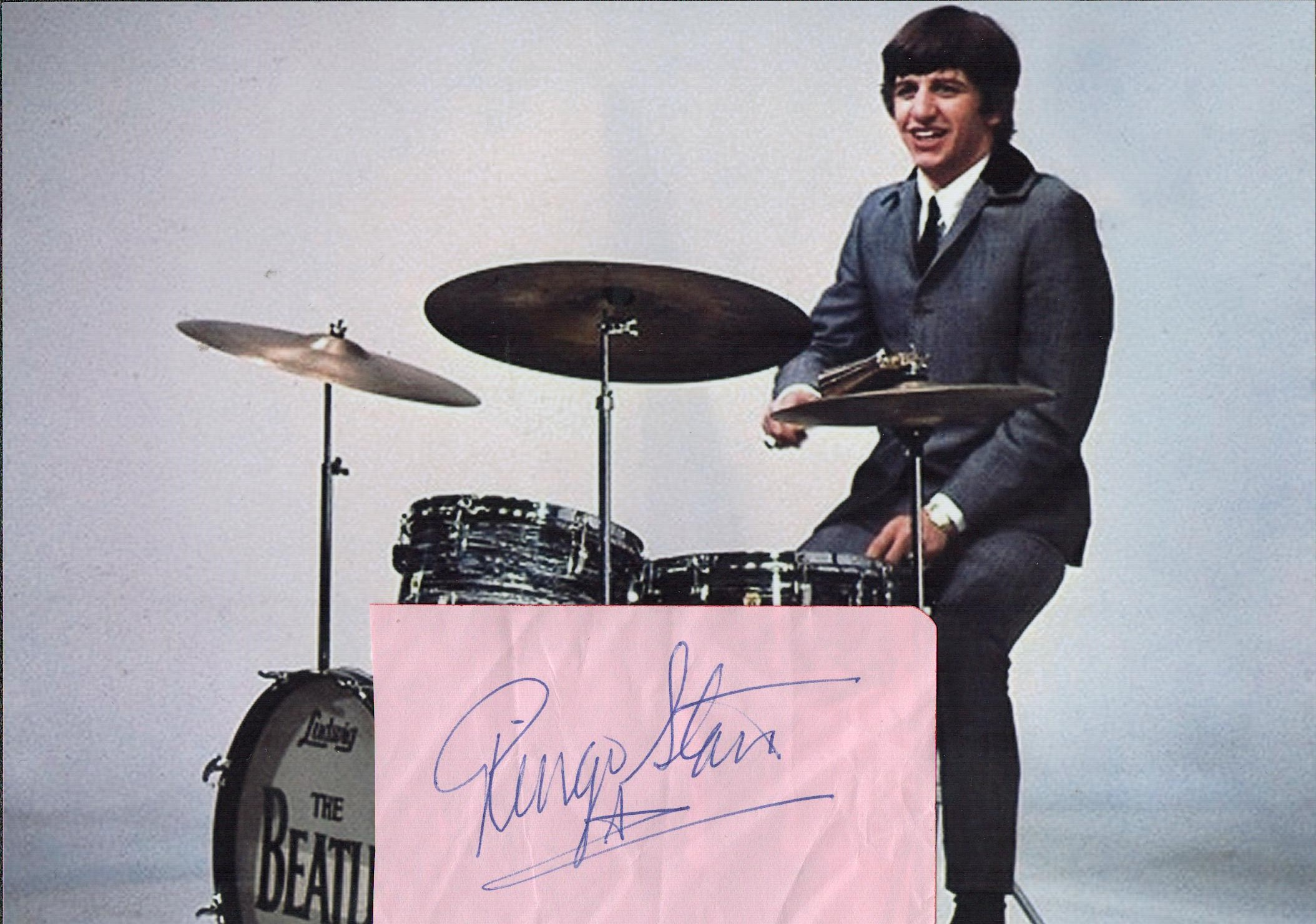 RINGO STARR The Beatles Drummer signed vintage Album Page with Beatles Photo. Good condition. All