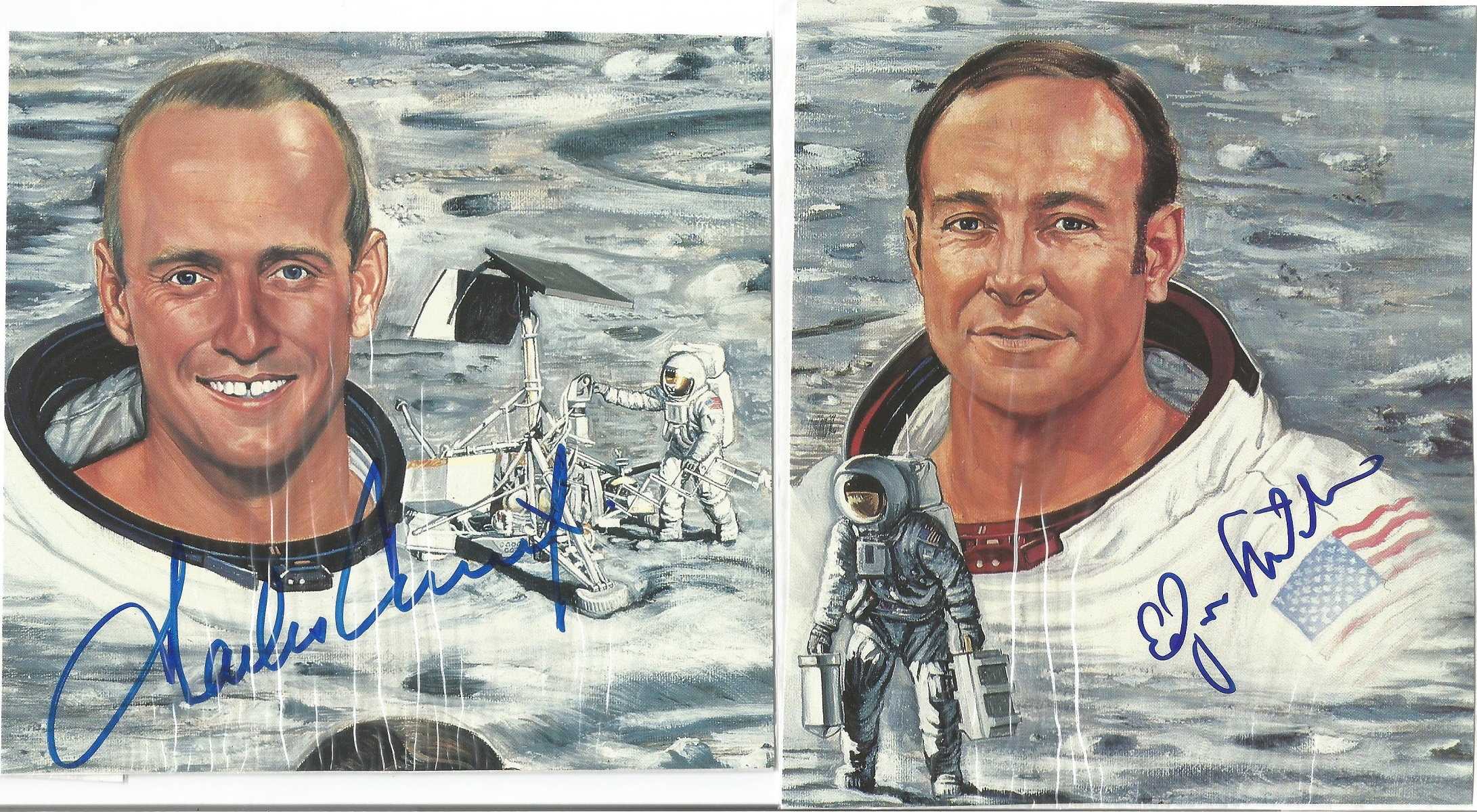 NASA Moon Walkers space collection 5 superb signed 14x15cm colour prints from astronauts Alan