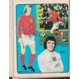 BOBBY MOORE (1941-1993) signed Twice in 1973 Shoot Magazine also signed by Gordon Banks (1937-2019),