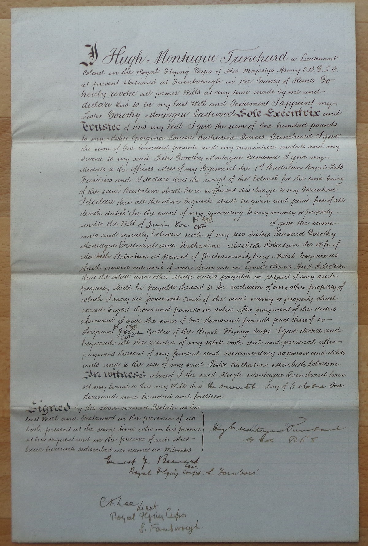Marshal of the Royal Air Force Hugh Montague Trenchard, 1st Viscount Trenchard signed Last Will